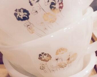 Set  of 3 Milk glass Cups milkglass Mug SALE ! Free Shipping!