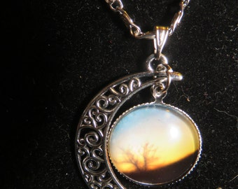 Galaxy Cresent Moon Necklace
