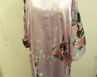 Light purple Chinese dressing gown robe style Japanese kimono peacock wedding pajama