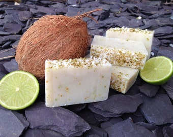 Handmade soap, Coconut & Lime soap bar, beauty products, exfoliating soap, SLS-free, paraben-free