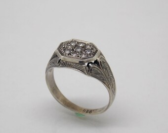 Retro, Vintage Sterling Silver 925 White Stone Engagement ring