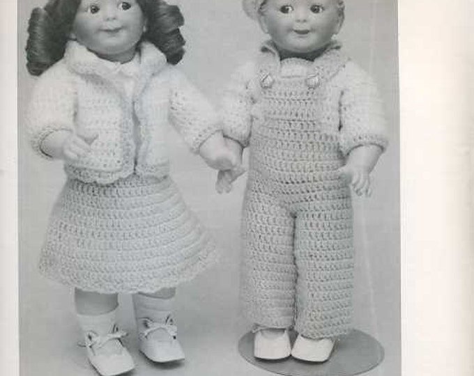 """FREE usa SHIP Byron Doll Pattern 1980's 153 Googly Twins Crochet Fits 15.5"""" Boy or Girl doll Old Store Stock Sewing Pattern"""