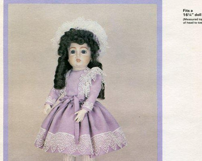 "FREE usa SHIP Byron Doll Pattern 1980's BY-Crescent Bru Suzanne 16 1/4"" Old Store Stock Sewing Pattern"