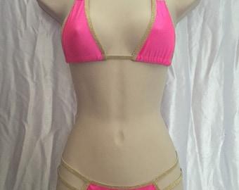 Hot pink with gold trim scrunch butt bikini