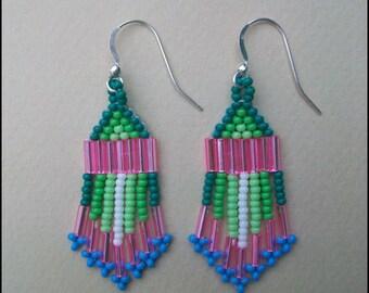 Native American Style Beaded Earrings, Dangle Earrings, Sterling Silver Earring Hooks