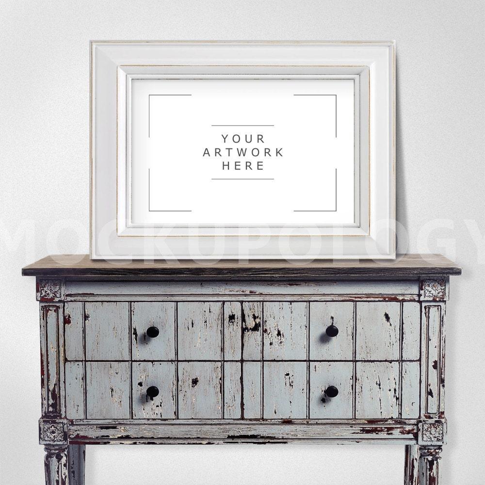 11x17 horizontal white digital frame mockup distressed chest for 11x17 mockup