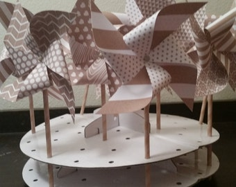 White and natural colored pinwheels Neutral colored pinwheels Multi pattern pinwheels