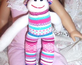 Easter, Baby nursery sock monkey, Cuddle toy, American girl doll toy, toy monkey, Handmade sock monkey, 8 1/2 inch baby monkey