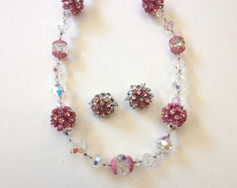 Crystal and Pink Enamel Necklace Earring Jewelry Set 50s