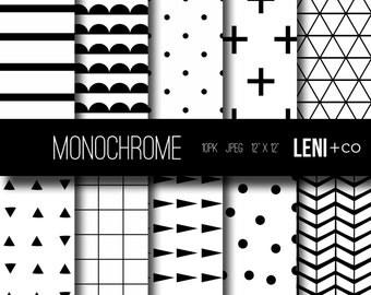 Digital Paper - Monochrome - Instant DOWNLOAD
