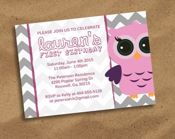 "Printable Owl Birthday Invitation | Chevron Background | 5""x7"" or 4""x6"" | Baby Girl Birthday"