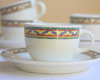 Vintage Villeroy and Boch Luxembourg Porcelain Cup and Saucer, Colorful Decor, Numbered