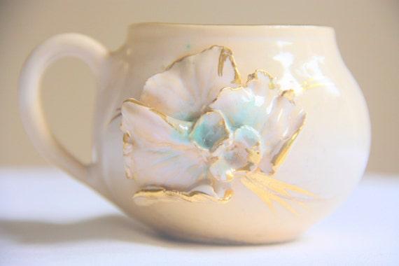 Rare Antique Ceramic Mug, Cream and Salmon Pink, 3D Flower, Handpainted