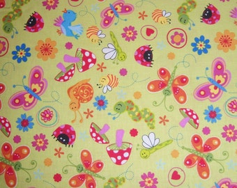 Bugs and Flowers Fat Quarter 18 x 22 inches - Quilting Fabric Bright