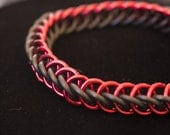 Red & Black Stretch Chainmaille Bracelet - Half Persian 3-1