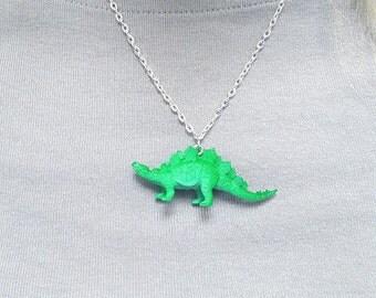 Stegosaurus Necklace Green Stegosaurus Necklae Green Dinosaur Necklace  Great Stocking Stuffer