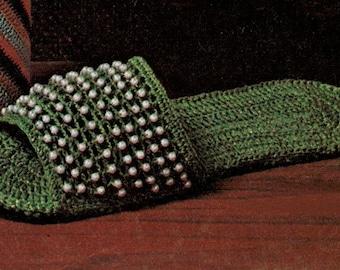 crochet, pattern, slipper, crochet slippers, shoes, pearls, slip on, women, vintage crochet slipper pattern, beaded slipper pattern
