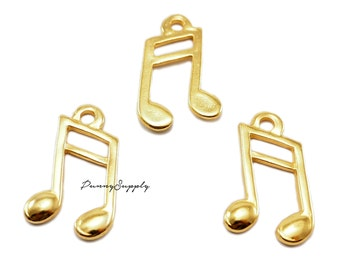 10 pieces - Treble Clef Music Symbol Note Charms Pendant Findings Gold Tone CG-066-SRR.1