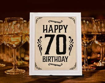 70th birthday party decoration. Printable 70th anniversary sign. Rustic party decor. Rustic birthday decorations. Happy 70th birthday poster