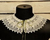 Crochet collar Grapevine   Crochet necklace Crochet jewelry Retro party Lace collar Romantic gift for her Detachable collar Boho jewelry