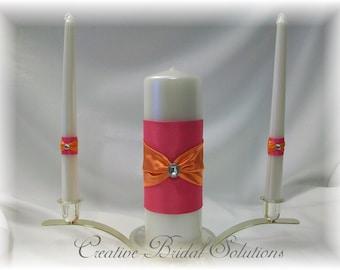 Fuchsia Pink and Orange Wedding Unity Candle Set, Pink Unity Candle, Orange Wedding Unity Candle