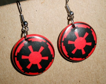 Star Wars Empire Recycled Button Earrings
