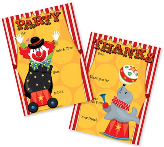 Big time circus party fill in invitations matching thank you notes il570xn stopboris Images