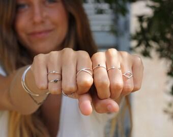 Black stone ring - SILVER ring - Simple SILVER ring - Minimal jewellery - Black stone
