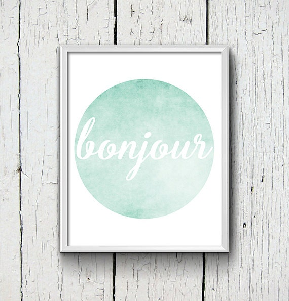 Https Www Etsy Com Listing 241481044 Mint Home Decor Bonjour Circle Wall Art