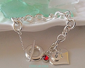 Personalized Silver Heart Bracelet / Sterling Silver Stamped Letter Charm with Birthstone / Toggle Clasp Bracelet