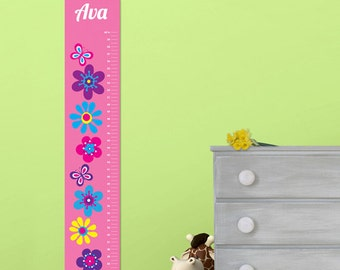 Personalized Girls Growth / Height Chart - Frilly Floral