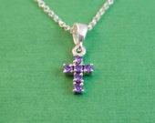 Tiny Purple Cross Necklace / cross necklace / cross necklace women / silver cross necklace / cross pendant / bridesmaid gift / bridesmaid