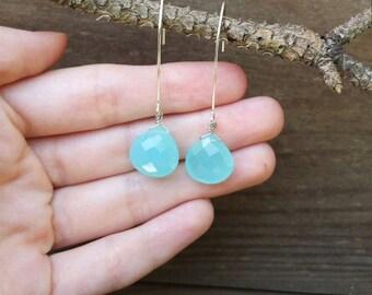 Bright aqua chalcedony gemstone teardrop earrings, aqua chalcedony hanging drop earrings, teardrop gemstone earrings, aqua earrings
