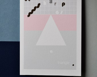 "Greeting card "" Be sharp as a triangle"" Minimal, Original print, Aesthetic art, Abstract, Typography, Pastel colours, A6"