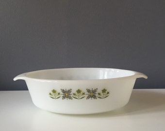 Vintage Mid Century Modern Anchor Hocking Fire King 'Green Meadow' Casserole Dish 433 1 1/2 Quart