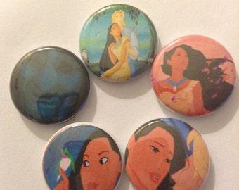 """Pocahontas Pin Buttons 1"""" Set"""