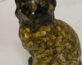Genuine Mother of Pearl Hand Crafted Cat Figurine