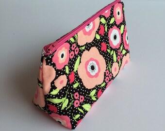 Pink Poppies Makeup Bag