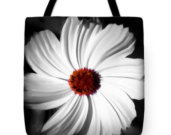 Swirling Cosmos Tote Bag 13x13 16x16 18x18 Floral Print Fashion Bag,Flower School Book Bag,Bohemian,Boho Chic,Black White Orange