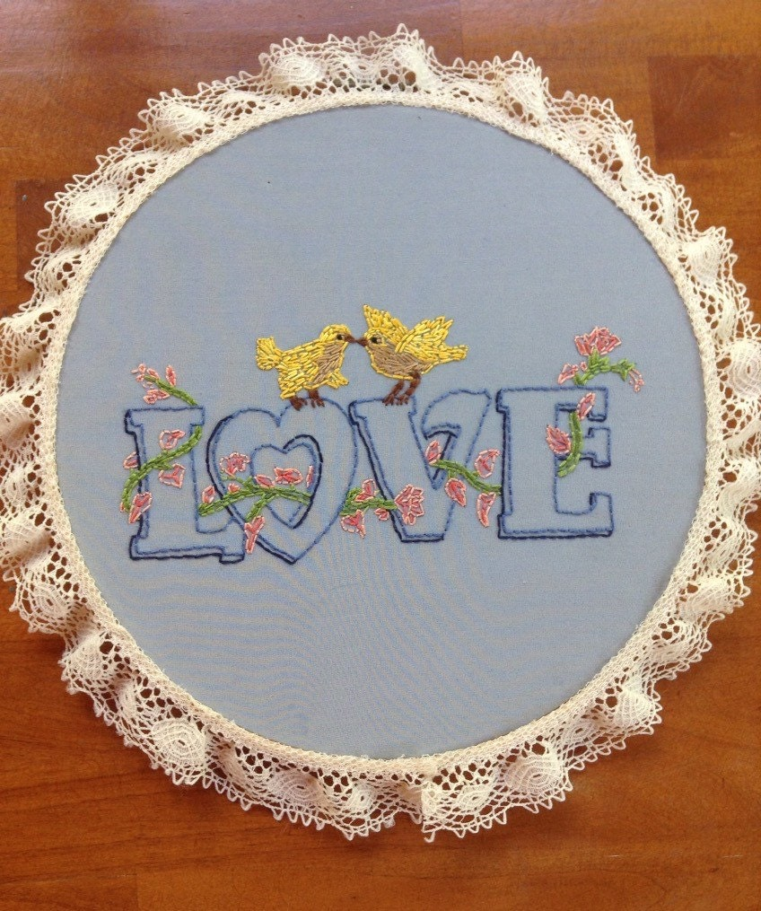 Vintage love birds handstitched embroidery hoop art with lace