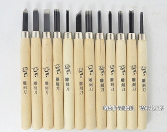 set of 12 Rubber Stamp Carving Tool - Metal Head Rubber Graver Set  - Carving Knife - Wood Carving Tools for Handmade Rubber Stamps
