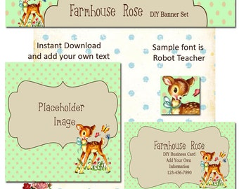 Updated Baby Deer 5 Piece DIY Shop Banner Avatar and Business Card Graphics Set Instant Download