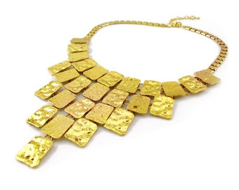 Hammered Gold Statement Necklace (Modern Gold Plated Thick Geometric Fashion Necklace Jewelry RSN4405-G)