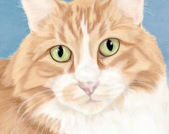 SALE - Cat Art Print, Cat Lover Gift, Orange Tabby Cat Art, Cat Decor - Fine Art Giclee Print of an Original Pawstel