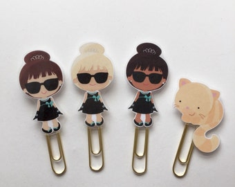 Audrey Hepburn Breakfast at Tiffanys Cat Double Sided Planner Clip - Made to Order