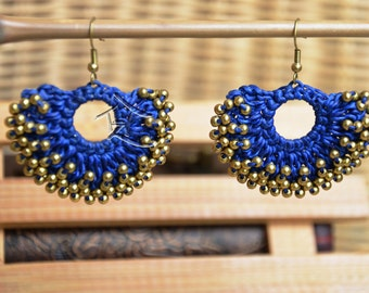 Macrame and Beaded earrings - hand made boheian - BLUE and ORANGE