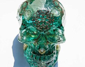 11cmx10cmx8cm Orgonite skull crystal quartz / carnelian / Tiger eye / fluorite / rudraksha / aluminum / copper / brass / gold / silver