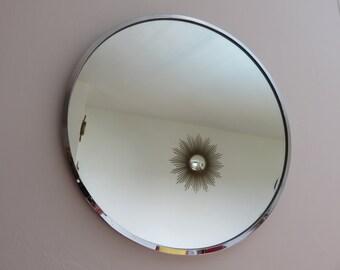 Ancien grand miroir soleil dor bomb oeil de par for Miroir bombe rond