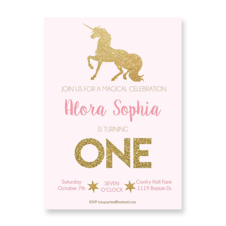 Pink and Gold Unicorn Invitation unicorn birthday Sprinkle