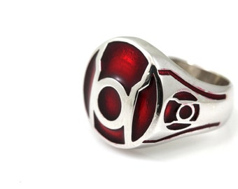 Red lantern Ring,Ring made from Sterling Silver,Red Enamel,White Gold Plated on 925.